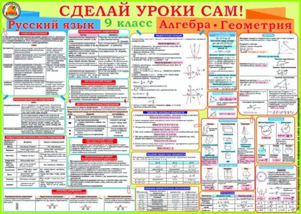Плакат 9 класс русский язык, алгебра и геометрия